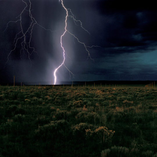 "Walter De Maria, ""The Lightning Field,"" 1977. Long term installation near Quemado, New Mexico. Photo: John Cliett © Dia Art Foundation."